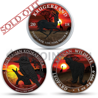 Amazing Sunset Set - Silver Krügerrand 2018 + Somalia Leopard 2018 + Kookaburra 2019