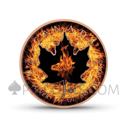 """Maple Leaf 5 CAD 2018 - """"Four Elements"""" Serie - Fire"""