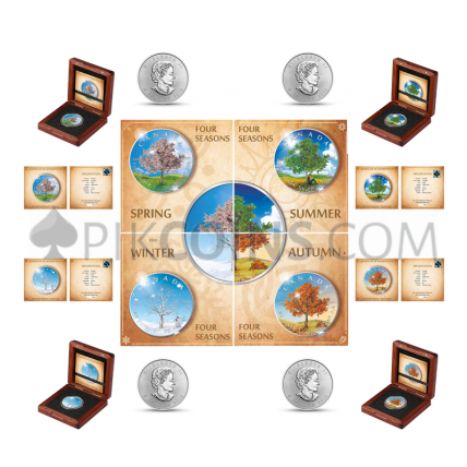 "Maple Leaf 5 CAD 2019 - ""Four Seasons"" Serie - Spring, Summer, Autumn, Winter - Set"