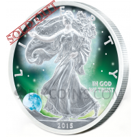Frozen Liberty 1 USD - Aurora Rhodium
