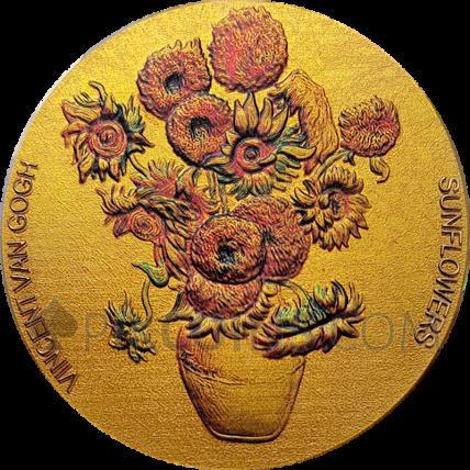 Sunflowers Van Gogh Painters 10 Cedis 2oz Proof-like Republic of Ghana 2020